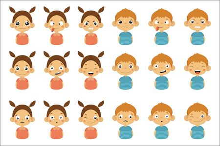 Young kids Portrait Icons With Different Emotions Set Of Flat Cartoon Style Simple Drawings Isolated On White Background