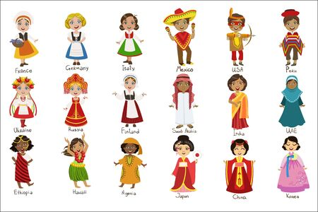 Kids In National Costumes Set Of Cute Bright Color Childish Design Vector Illustrations Isolated On White Background 矢量图像