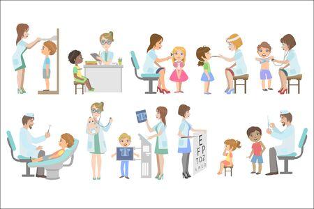 Niños en examen médico Ilustración de vector