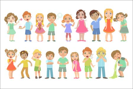 Kids With Maladies Set Of Cute Big-eyed Characters Flat Vector Isolated Illustrations On White Background