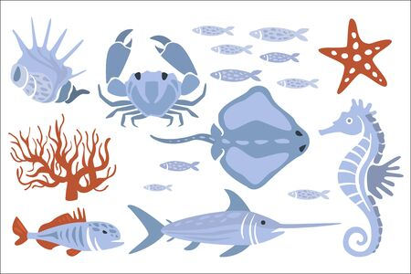 Stylized Underwater Nature Set Of Icons In Flat Atristic Vector Design On White Background.