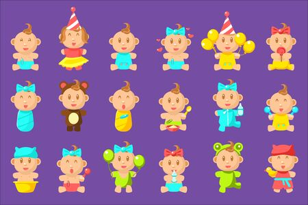 Babies An Toddles Sticker Set Of Flat Simplified Cartoon Style Vector Icons