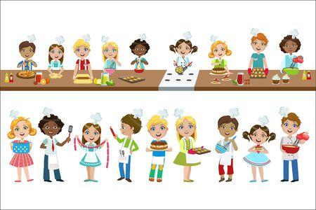 Enfants sur la leçon de cuisine ensemble de dessins vectoriels isolés de couleur vive dans un dessin animé simple sur fond blanc