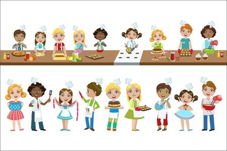 Kids On Cooking Lesson Set Of Bright Color Isolated Vector Drawings In Simple Cartoon Design On White Background Stock Illustratie
