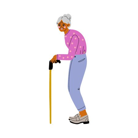 Old Grey Senior Woman Walking with Cane Vector Illustration on White Background. Ilustração