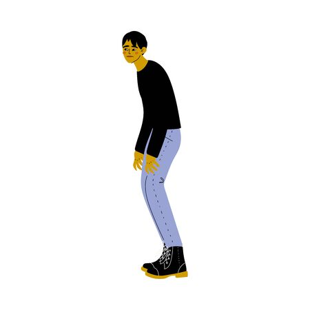 Stooping Young Man in Casual Clothes Vector Illustration on White Background.