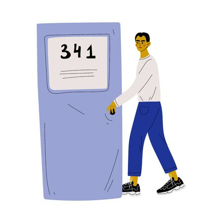 Young Man in Casual Clothes Opening the Door and Coming In Vector Illustration Stock fotó - 127639795