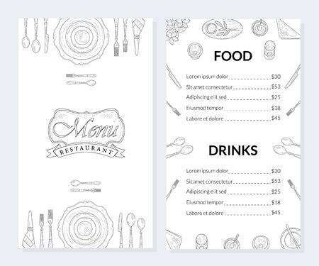 Restaurant Menu Template, Food and Drinks Brochure, Drinks List with Prices Hand Drawn Vector Illustration