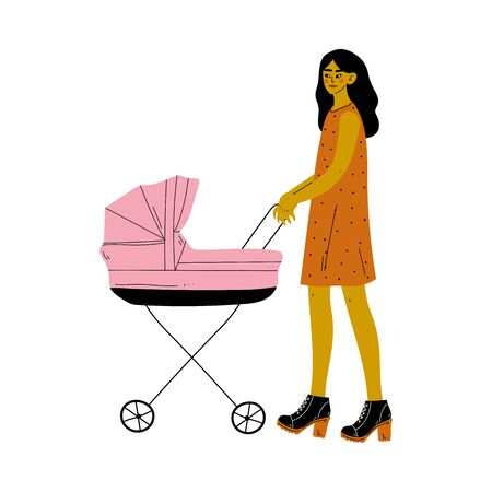 Beautiful Young Brunette Woman Walking with Her Newborn Baby in Pink Pram Vector Illustration on White Background. Ilustração