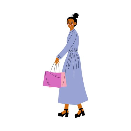 Beautiful Young Woman in Elegant Light Blue Dress Walking with Shopping Bag Vector Illustration on White Background. Illustration