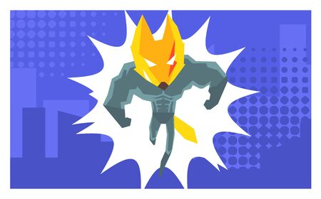 Courageous Superhero Fantastic Animal in Costume and Mask, Design Element Can Be Used For Birthday Invitation Card, Poster, Banner, Booklet, Brochure, Flyer Vector Illustration  イラスト・ベクター素材