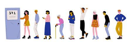 Personas vestidas con ropa casual de pie en línea o cola cerca de la puerta ilustración vectorial sobre fondo blanco.