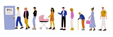 Men and Women Dressed in Casual Clothes Standing in Line or Queue near Door Vector Illustration on White Background.