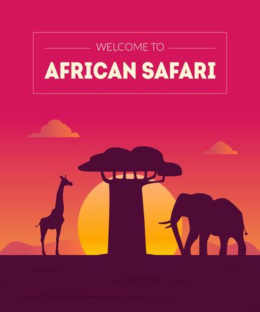 Welcome to African Safari Banner Template, Beautiful Landscape with Animals Silhouettes and Baobab Tree at Sunset Vector Illustration