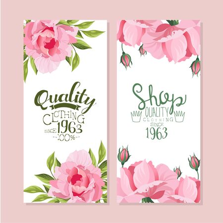 Tailor Shop Banner Templates Set, Quality Clothing Sewing Studio Retro Badges Decorated with Pink Peony Flowers Vector Illustration Illustration