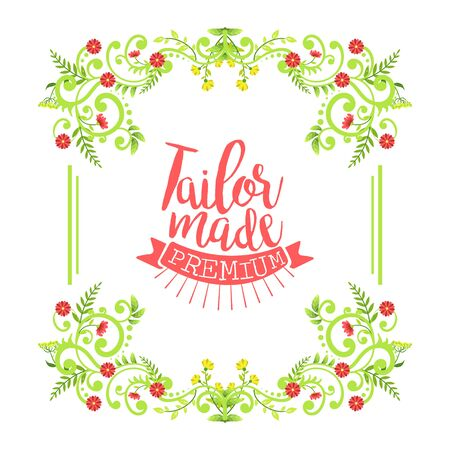 Tailor Shop Banner Template, Sewing Studio Premium Retro Badge Decorated with Leaves and Flowers Vector Illustration