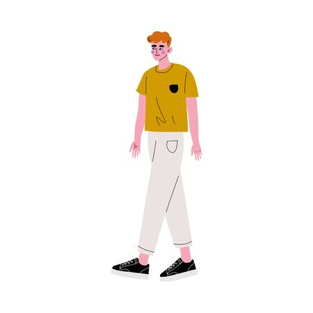 Young Redhead Handsome Man in Casual Clothes Vector Illustration on White Background.