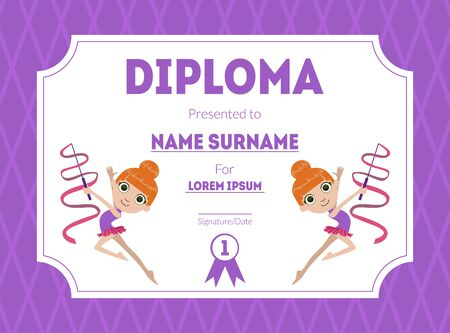 Sports Award Diploma Template, Kids Certificate with Gymnast Girl for Competition or Sports Winner Vector Illustration, Web Design. Ilustracja