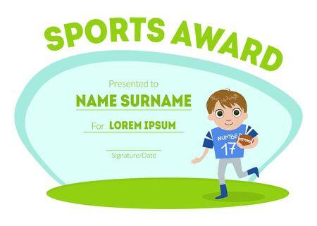 Sports Award Diploma Template, Kids Certificate with Boy Rugby Player for Competition or Sports Winner Vector Illustration, Web Design.