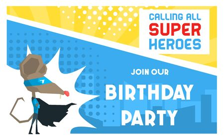 Superhero Birthday Party Banner Template, Cute Funny Mouse in Superhero Costume and Mask, Birthday Invitation, Card, Poster, Flyer Vector Illustratio