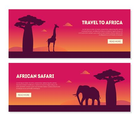 Welcome to African Safary Landing Page Templates Set, Beautiful African Landscape with Animals Silhouettes and Baobab Tree Vector Illustration