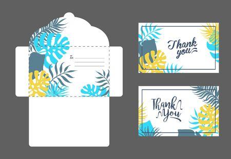 Speichern Sie das Datum, elegante Hochzeitseinladungsvorlagen, Danke, Rsvp-Karten und Umschlag mit exotischen tropischen Blättern, Vektorillustration, Webdesign. Vektorgrafik