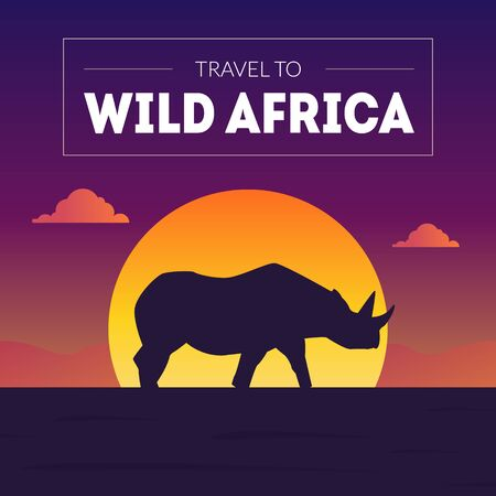 Wild Africa Banner Template, Beautiful African Landscape with Rhino Silhouette at Sunset Vector Illustration