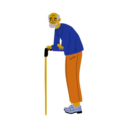 Old Senior Bearded Man Walking with Cane Vector Illustration on White Background.