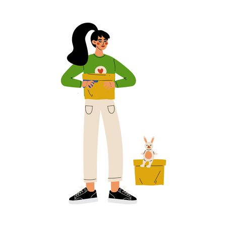 Girl Volunteer Holding Donation Box, Volunteering, Charity and Supporting Vector Illustration on White Background.