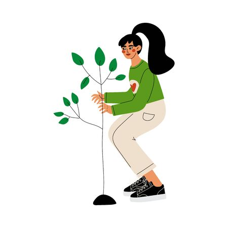 Girl Gardening and Planting Seedling of Tree, Volunteer Working in Garden or Farm, Volunteering, Ecological Lifestyle Vector Illustration on White Background.