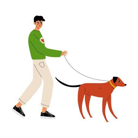 Man Walking with Dog, Volunteer at Work Vector Illustration on White Background.