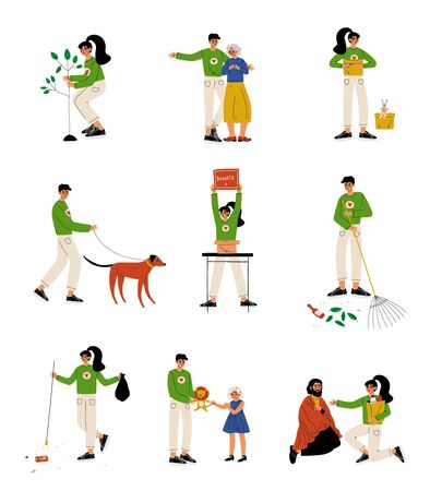 Volunteers Helping Elderly, Homeless People, Animals, Planting Trees and Gathering Garbage Set, Volunteering, Charity and Supporting People Vector Illustration on White Background.