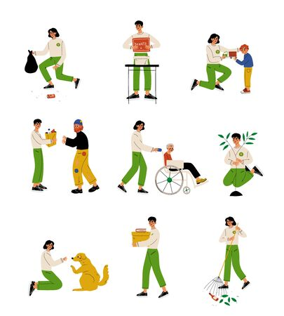 Volunteers Helping People, Animals, Planting Trees and Gathering Garbage Set, Volunteering, Charity and Supporting People Vector Illustration on White Background.