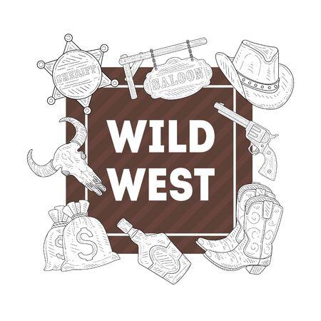 Wild West Banner Template, Western, Cowboy Hand Drawn Symbols Vector Illustration, Web Design. Illustration
