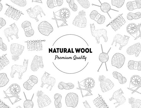 Natural Wool Banner Template with Knitting Hand Drawn Symbols Pattern, Design Element Can Be Used for Brochure, Booklet, Card Monochrome Vector Illustration.