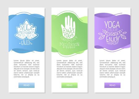 Yoga Studio Meditation, Ayurvedic Business Cards Set with Ethnic Symbols and Place for Text Vector Illustration Illustration
