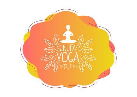 Geniet van yogastudio-sjabloon, ontwerpelement kan worden gebruikt voor logo, visitekaartje, uitnodiging, flyer vectorillustratie
