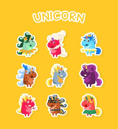 Funny Cartoon Magic Unicorns Stickers Set, Fashion Patch Badges with Smiling Fantasy Animals on Yellow Bacground Vector Illustration, Web Design. Stock Vector - 128165625