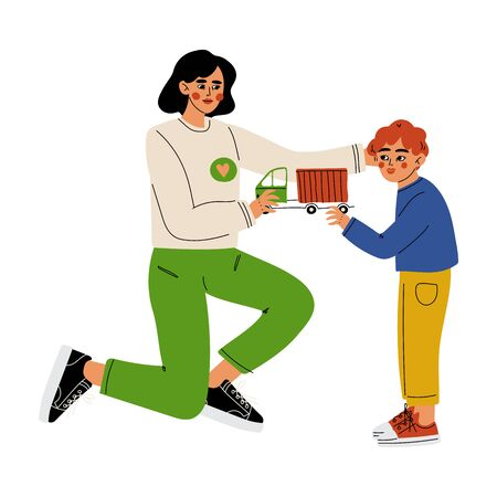 Female Volunteer Giving a Boy Toy Car, Volunteering, Charity and Supporting People Vector Illustration on White Background.
