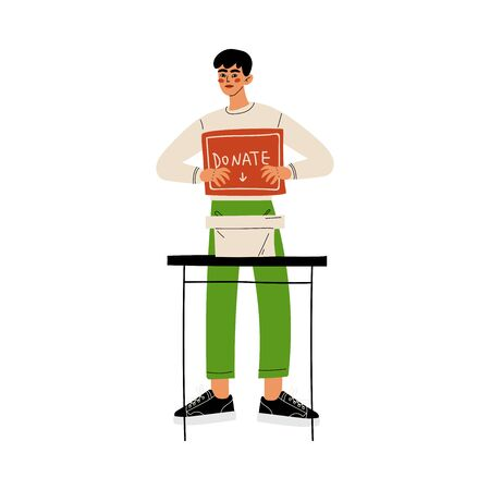 Male Volunteer with Donate Box, Volunteering, Charity and Supporting Vector Illustration on White Background.