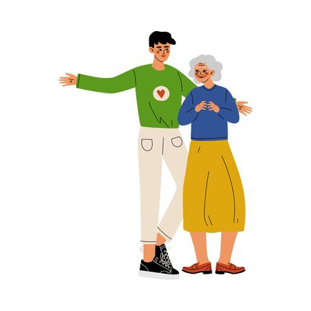 Male Volunteer Helping Old Lady, Social Worker, Volunteering, Charity and Supporting People Vector Illustration  イラスト・ベクター素材