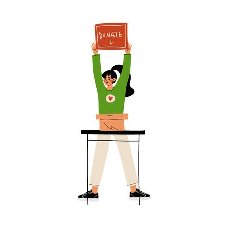 Female Volunteer with Donate Box, Volunteering, Charity and Supporting Vector Illustration on White Background.