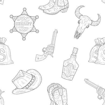Wild West Seamless Pattern, Western, Cowboy Hand Drawn Symbols Monochrome Vector Illustration, Web Design. Illustration
