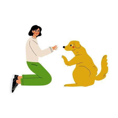Girl Palying with Dog, Volunteer Taking Care of Animals Vector Illustration on White Background. Illustration