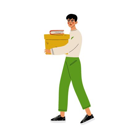 Male Volunteer Holding Donation Box, Volunteering, Charity and Supporting Vector Illustration on White Background.