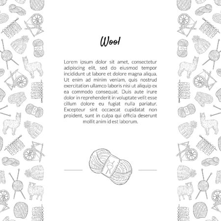 Wool Banner Template with Place for Text and Knitting Hand Drawn Symbols Pattern, Design Element Can Be Used for Brochure, Booklet, Card Monochrome Vector Illustration