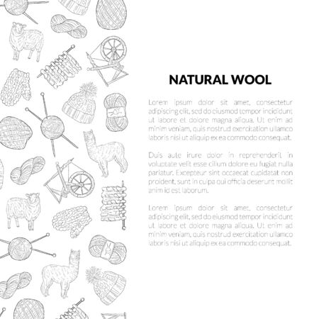 Natural Wool Banner Template with Place for Text and Knitting Hand Drawn Symbols Pattern, Design Element Can Be Used for Brochure, Booklet, Card Monochrome Vector Illustration Illustration