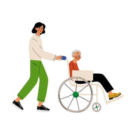 Disabled Elderly Woman in Wheelchair, Male Volunteer Helping Her, Social Worker, Volunteering, Charity and Supporting People Vector Illustration on White Background. Stock fotó - 128165638