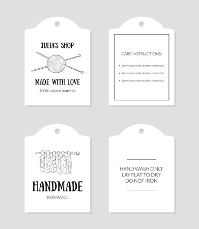 Handmade with Love Paper Tags with Care Instructions Set Monochrome Hand Drawn Vector Illustration