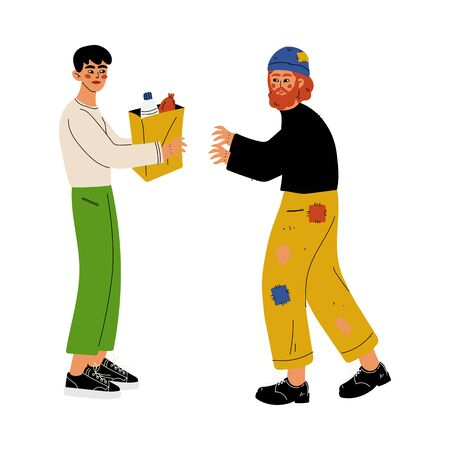 Male Volunteer Helping Homeless Man, Volunteering, Charity and Supporting People Vector Illustration on White Background.